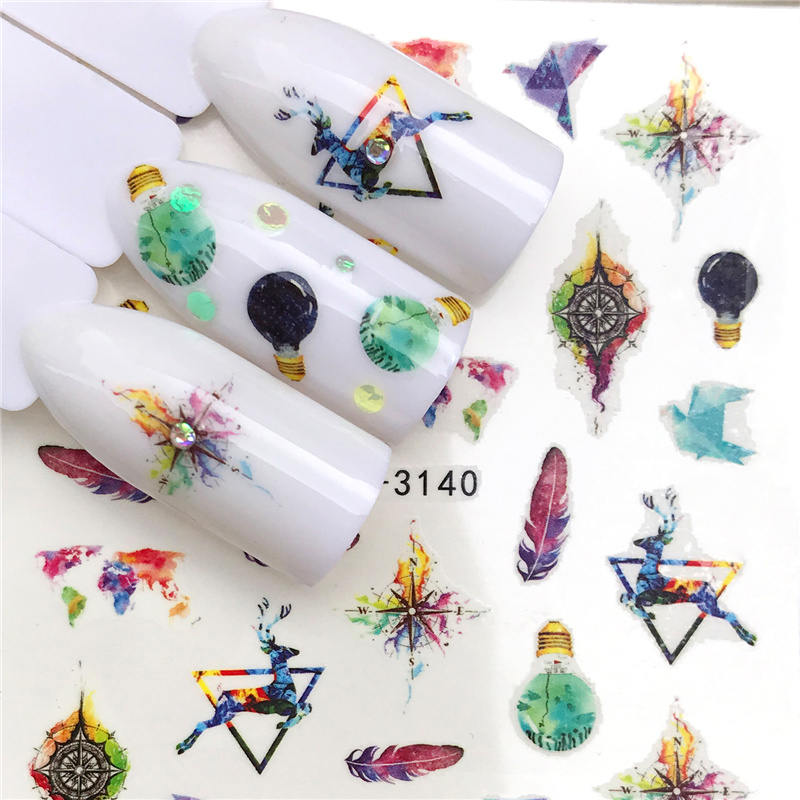 LCJ 1 шт стикер для ногтей с водной наклейкой животное цветок растение шаблон 3D Маникюр Стикер дизайн ногтей украшение - Цвет: YZW-3140
