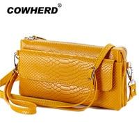 2016 Hot Women Clutch Bag Serpentine Prints Genuine Cow Leather Wallets Fashion Wristlet Change Phone Purse