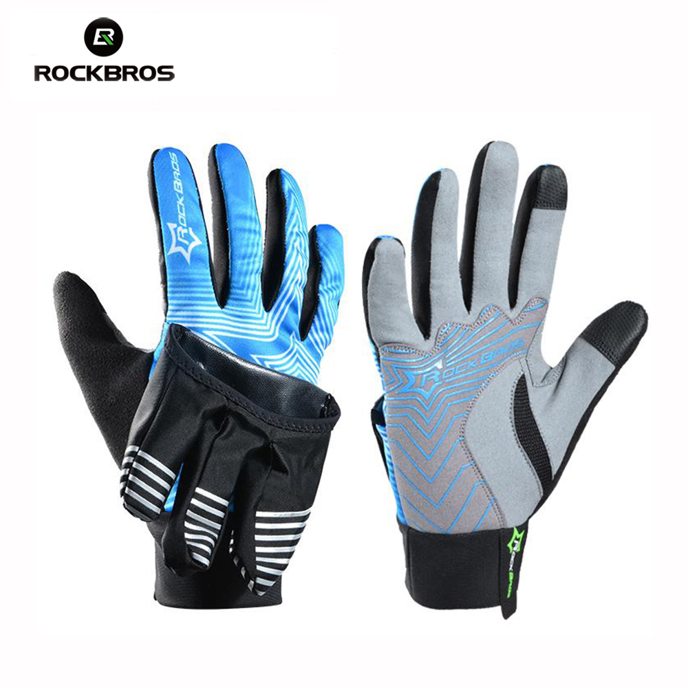 цена на ROCKBROS Winter Windproof Thermal Sports Gloves Full Finger Cycling Gloves Waterproof Touch Screen uantes Clismo