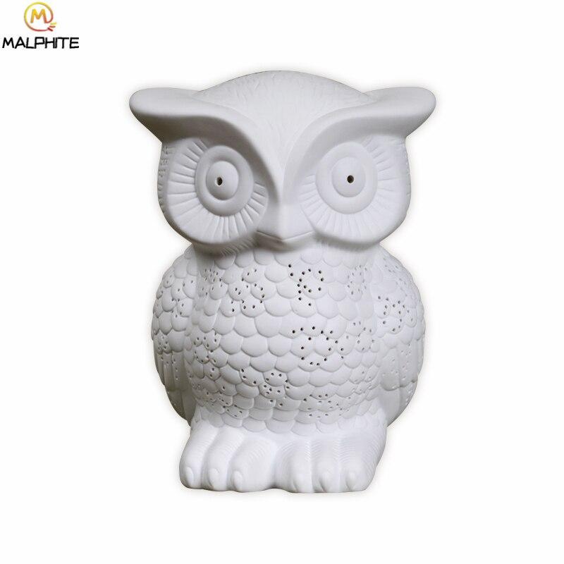 Новинка белая керамическая сова ночник Луна лампа для спальни прикроватная лампа для гостиной детский подарок мультяшный Ночник светильни... - 5