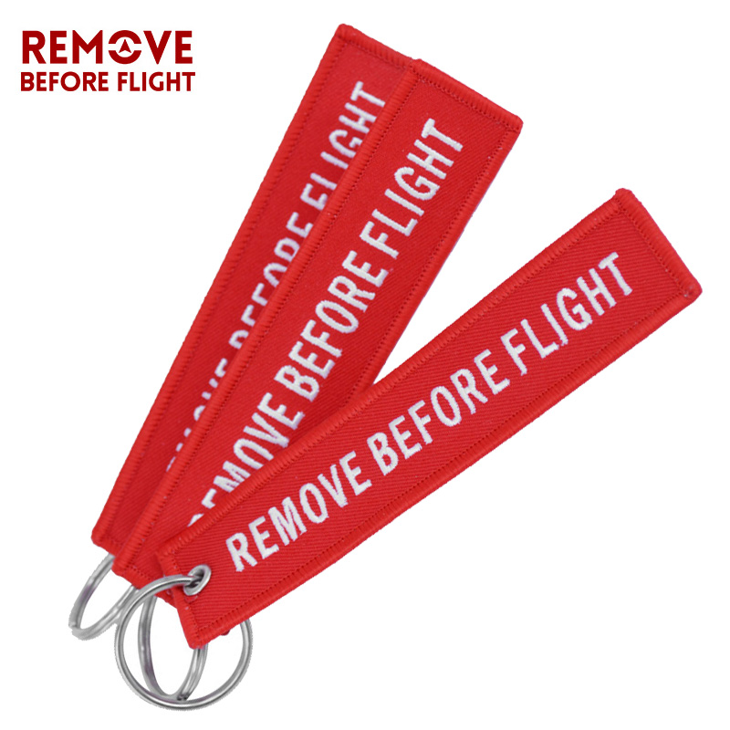3pcs/set Remove Before Flight Key Ring Red Embroidery Key Tag Label Key Fobs OEM Keychain Jewelry Motorcycle Keyring Chaveiro