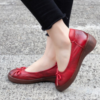 Women Leather Loafers Bowknot Low Heels Retro Lazy Shoes Ladies Red Spring Flats Women Handmade Genuine Leather Soft Flats Women