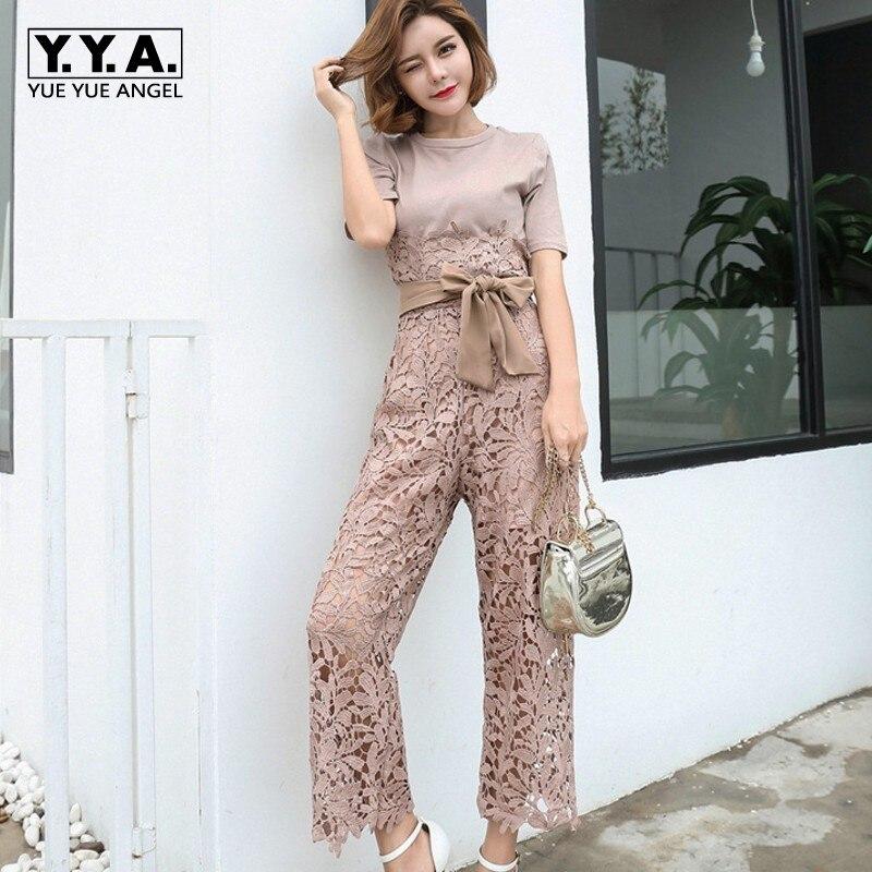 Summer New Women Lace Crochet Wide Leg Jumpsuit Bowknot Belted Slim Fit Short Sleeved Rompers Elegant Ladies Party Bodysuits