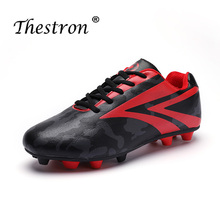 Thestron 2019 Football Lovers Sneakers Ankle Boots Children Black Pink Sport Soccer Shoe Boys Long Spike Shoes