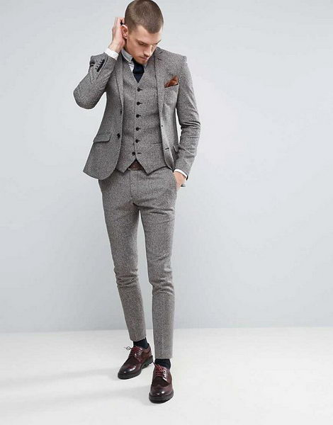 2017 Latest Coat Pant Designs Grey Tweed Men Suit Groom Jacket Slim Fit 3 Piece Tuxedo Custom Suit Prom Blazer Terno Masculino D