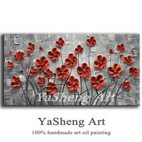 hand-painted Oil Painting Palette knife Thick Paint white Flowers Painting Modern Home Canvas Wall Art Living Room Decor Picture