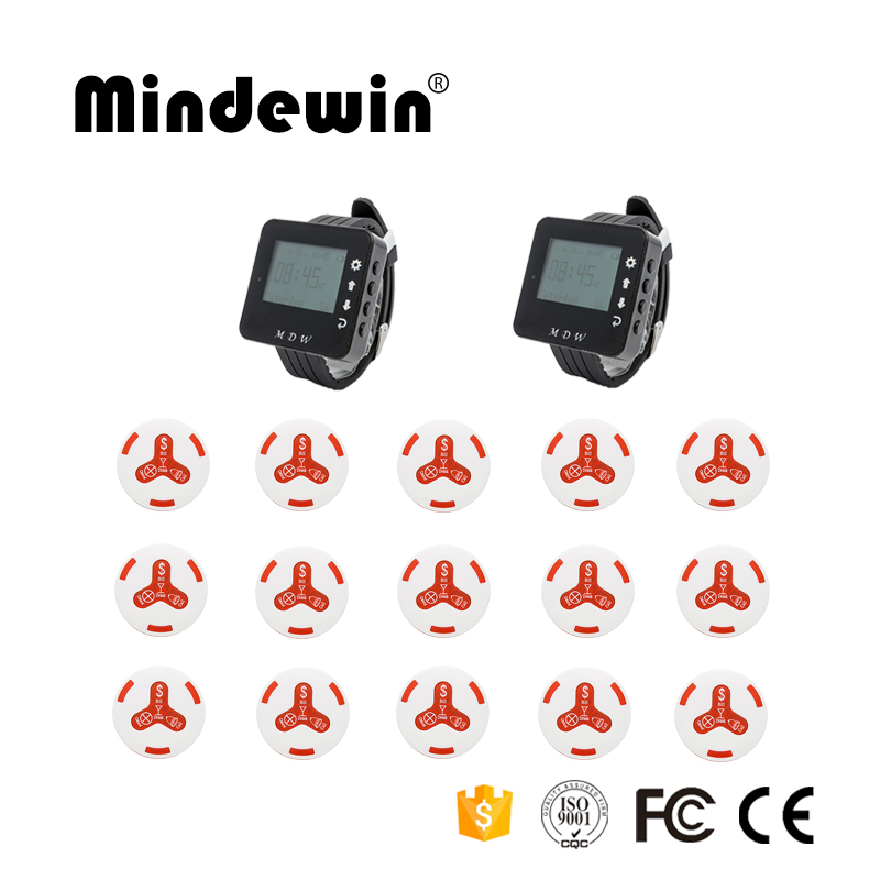 Mindewin Hot Sale Restaurant Or Cafe Shop Wireless Calling Service System 15pcs Service Calling Button + 2pcs Wrist Watch Pager Mindewin Hot Sale Restaurant Or Cafe Shop Wireless Calling Service System 15pcs Service Calling Button + 2pcs Wrist Watch Pager