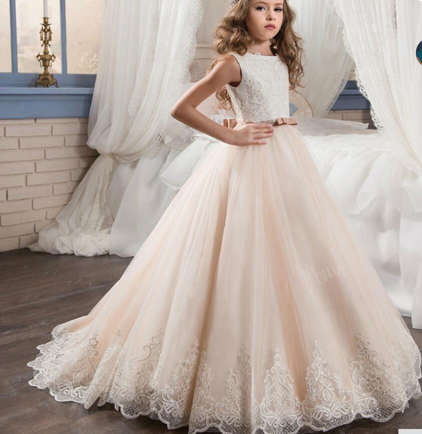 Cute 2019   Flower     Girl     Dresses   For Weddings Ball Gown Tulle Appliques Beaded Long First Communion   Dresses   For Little   Girls
