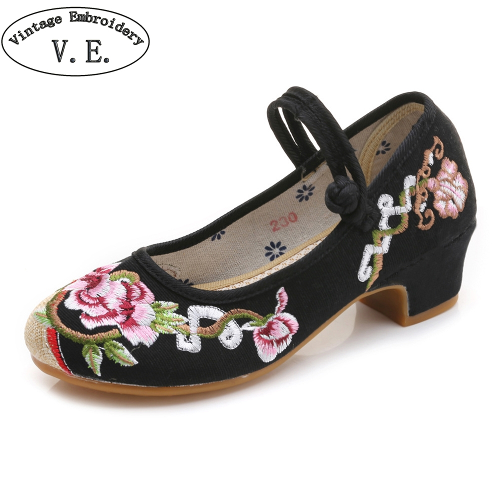 Vintage Chinese Women Pumps 3-5cm High Heels Embroidered Shoes Casual Mary Jane Shoes Woman Latin Dance Ballet Shoes For Lady size 34 41 fashion shoes woman old beijing mary jane flats casual chinese style peony flower embroidered cloth canvas shoes
