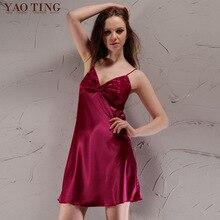 2017 Women V neck Homewear Nightdress Summer Nightgown Sexy Imitation Silk Mini Short Dress Silky Sleepwear