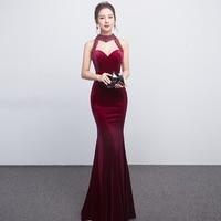 Sexy Halter Crystal Fuchsia Mermaid Evening Dresses Velvet Velour Evening Dress 2019 Long Formal Prom Gowns Custom Made