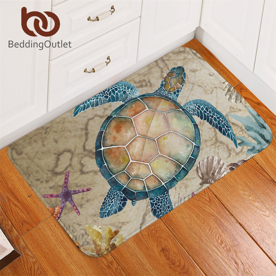 BeddingOutlet Tortoise Carpet Nautical Non-slip Soft Rug Sea Turtle Floor Mat Absorbent Marine Animal Doormat For Bedroom 50x80