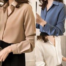 Women Blouse 2019 Women's Wear Simple Lapel Long Sleeve Chiffon Pure Color Shirt pure color frilled chiffon blouse
