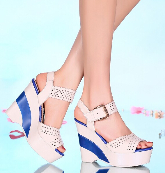 Women Summer Genuine Leather Wedges Chunky Heel  Peep Toe Ankle Wrap Cutout Fashion Sandals Shoes Size 34-39 SXQ0908 gladiator women new arrival summer wedges chunky heel ankle wrap fashion casual sandals shoes plus size 34 43 sxq0610