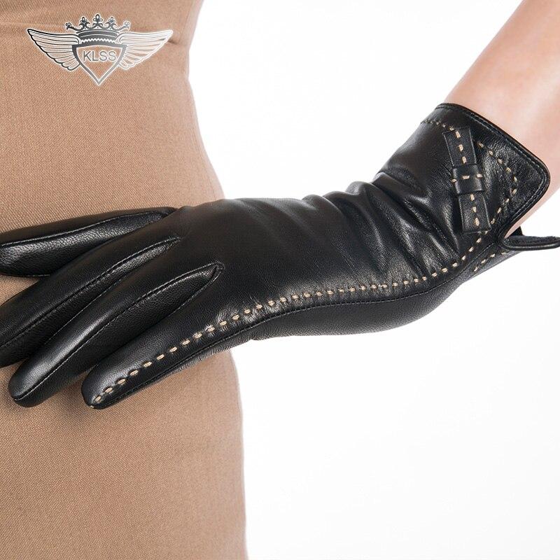 3ba67039210 Kopen Goedkoop KLSS Merk Lederen Vrouwen Handschoenen Hoge Kwaliteit  Geitenleer Handschoenen Elegante Dame Touchscreen Schapenvacht Handschoen  Strik 1501 ...