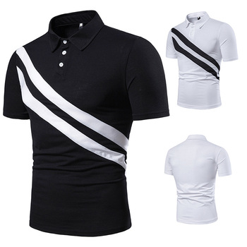Men's short sleeve diagonal double stripe color matching fashion collocation cross-border lapels, men short sleeve POLO