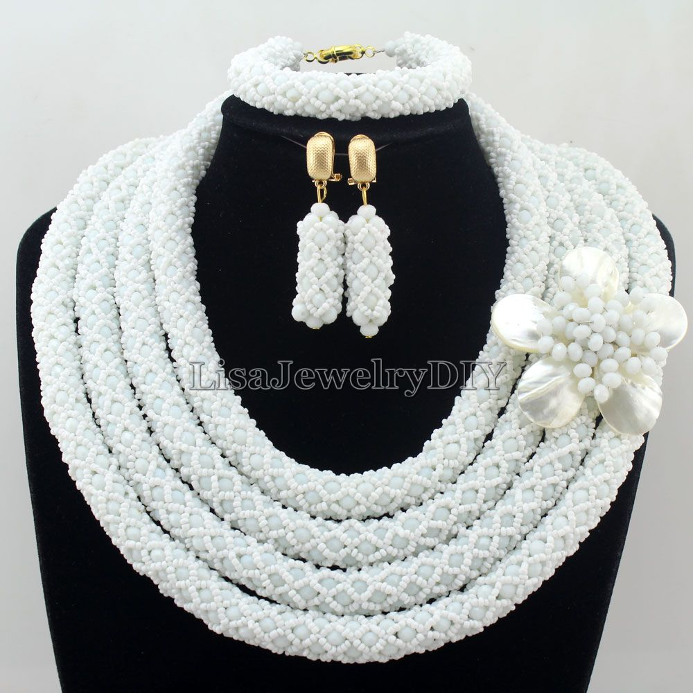 New Arrived Statement Necklace Nigeria Wedding Set Necklace Africa Beads Classic Women Crystal Jewelry Set HD7279 nylon rope alloy statement necklace set