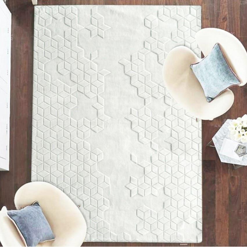 Handmade 3D Sculptured Wool Carpet , 80% New Zealand Wool Content  Living Room  Carpet, Bedside Rug  Home Decoration Carpet