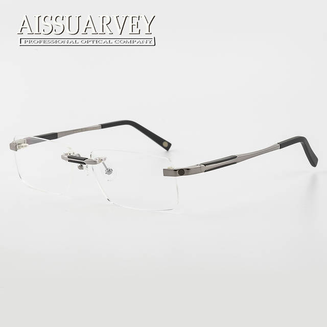1fb52b5a62 Rimless Eyeglasses Men Fashion Brand Designer Glasses Frames Prescription  Eyewear Optical Luxury Business Goggles Spring Leg