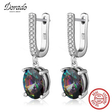 Dorado Brand Design Pure 925 Sterling Silver Jewelry Colorful Cubic Zirconia Drop Dangle Earrings for Women Free Gifts Box