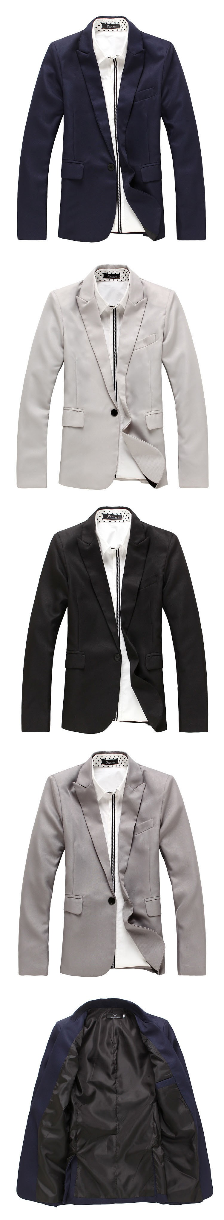 Men blazers Fashion Silm Fit Stylish Mens V Neck One Button Black Blazer Suit 2016 Spring Autumn Brand Business Coat Jacket (5)