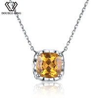 DOUBLE R Yellow Genuine Natura High Quality Citrine Necklaces 925 Sterling Silver For Women Fine