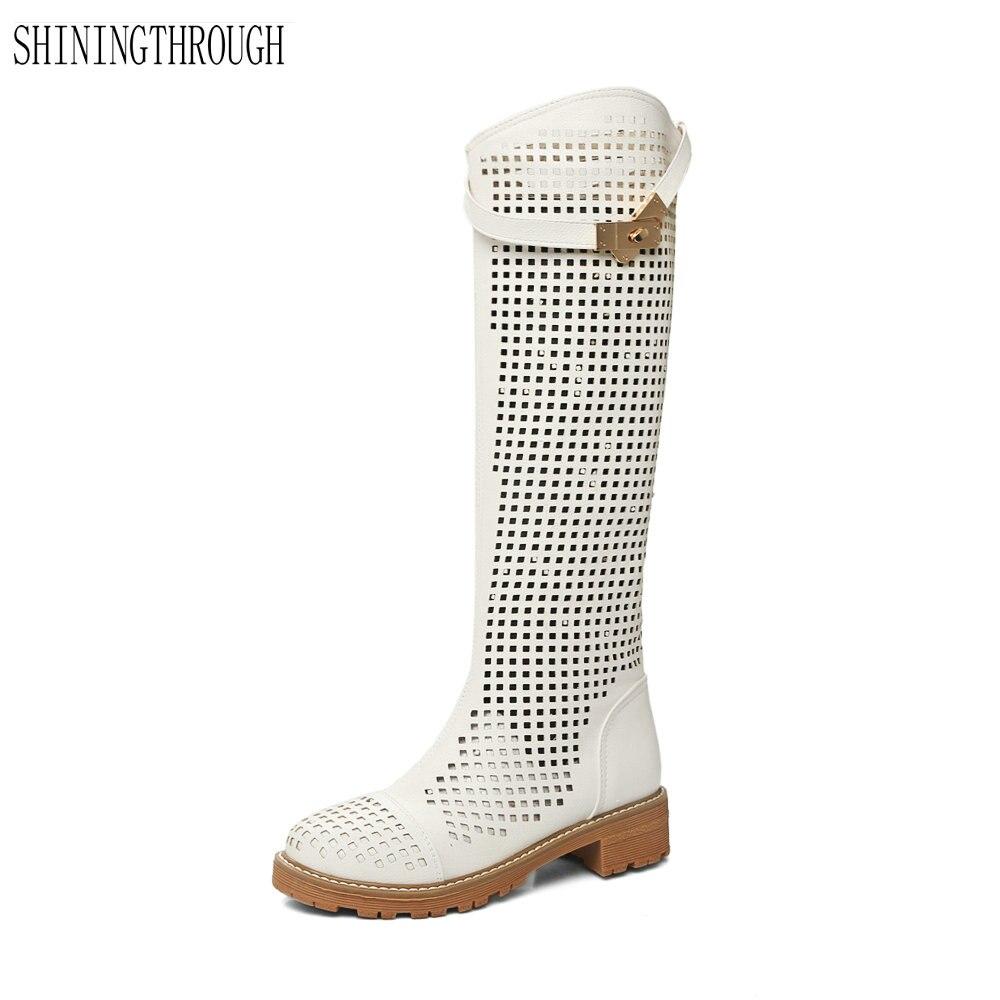 afc427911 Новые модные женские сапоги до колена летние сапоги с вырезами Ботинки на  низком каблуке Женская обувь