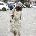 Женщины Повседневная Denim Эластичный Пояс Платье Дамы Халг Однобортный Denim Платье Щель Полосатые Платья