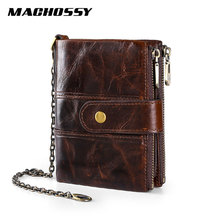 MACHOSSY 100% Genuine Leather Wallet Men Retro Short Cowhide Purse with Coin Pocket Card Holder Designer Chain Wallet for Male new look minimalist men women wallet unisex male female coin purse pouch holder pocket simple casual designer short style canvas