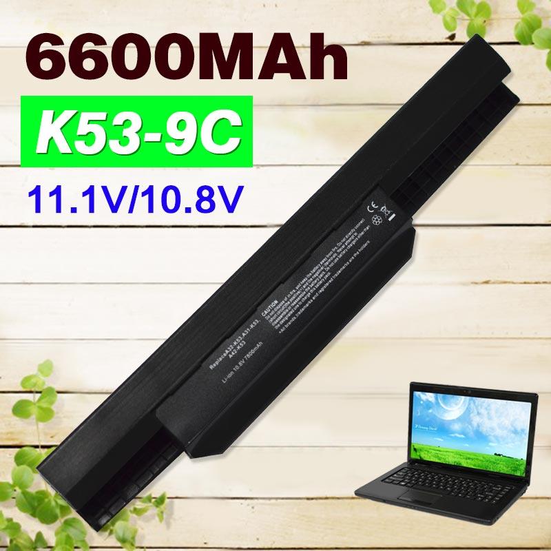 6600mAh Battery For Asus A32-K53 A41-K53 K53s K53SV A43 X54H X53U K43 X53S k53ta K53U A53S X84S A53 A53E X44 X43 K53J X84 A43 new laptop for asus a53t k53u k53b x53u k53t k53t k53 x53b k53ta k53z top lcd plamrst cover bottom cover hinges speaker jack