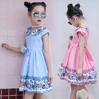 Dresses For Girls 2017 Summer Cartoon Doll Collar Cute Print Palace Child Cotton Short Sleeved Bow
