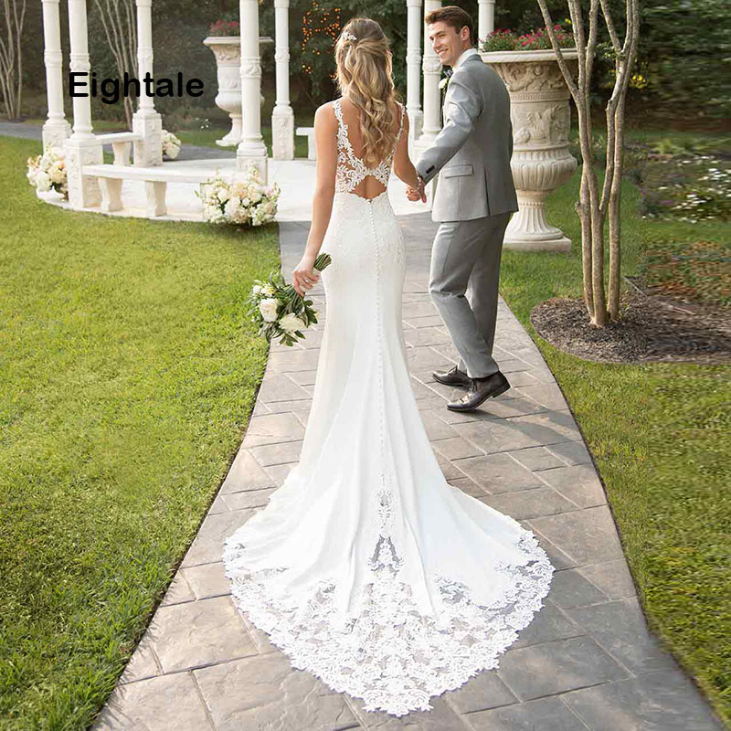 Eightale Mermaid Boho Wedding Dresses 2019 Sweetheart Appliques Lace Chiffon Wedding Gowns Backless Bride Dress vestido