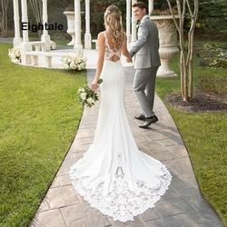 Eightale Mermaid Boho Wedding Dresses 2019 Sweetheart Appliques Lace Chiffon Wedding Gowns Backless Bride Dress vestido novia