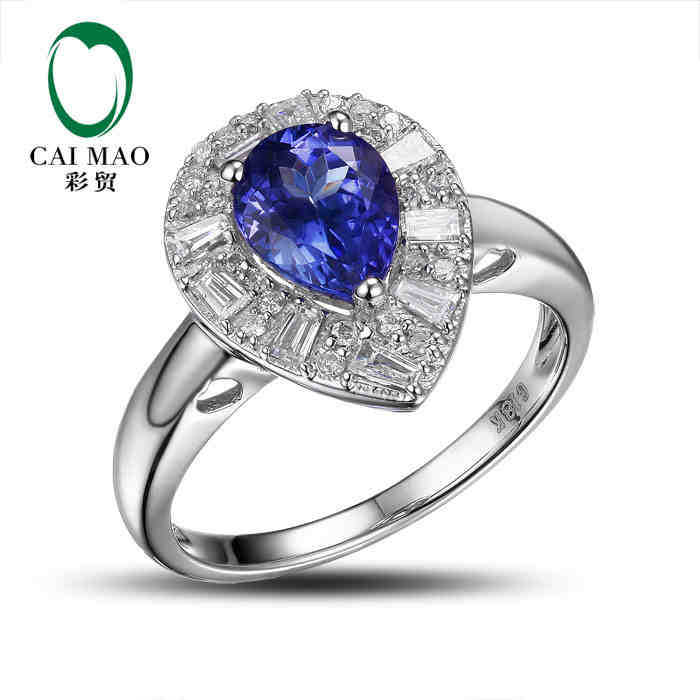 купить CaiMao 18KT/750 White Gold 1.62 ct Natural IF Blue Tanzanite AAA 0.45 ct Full Cut Diamond Engagement Gemstone Ring Jewelry по цене 53499.07 рублей
