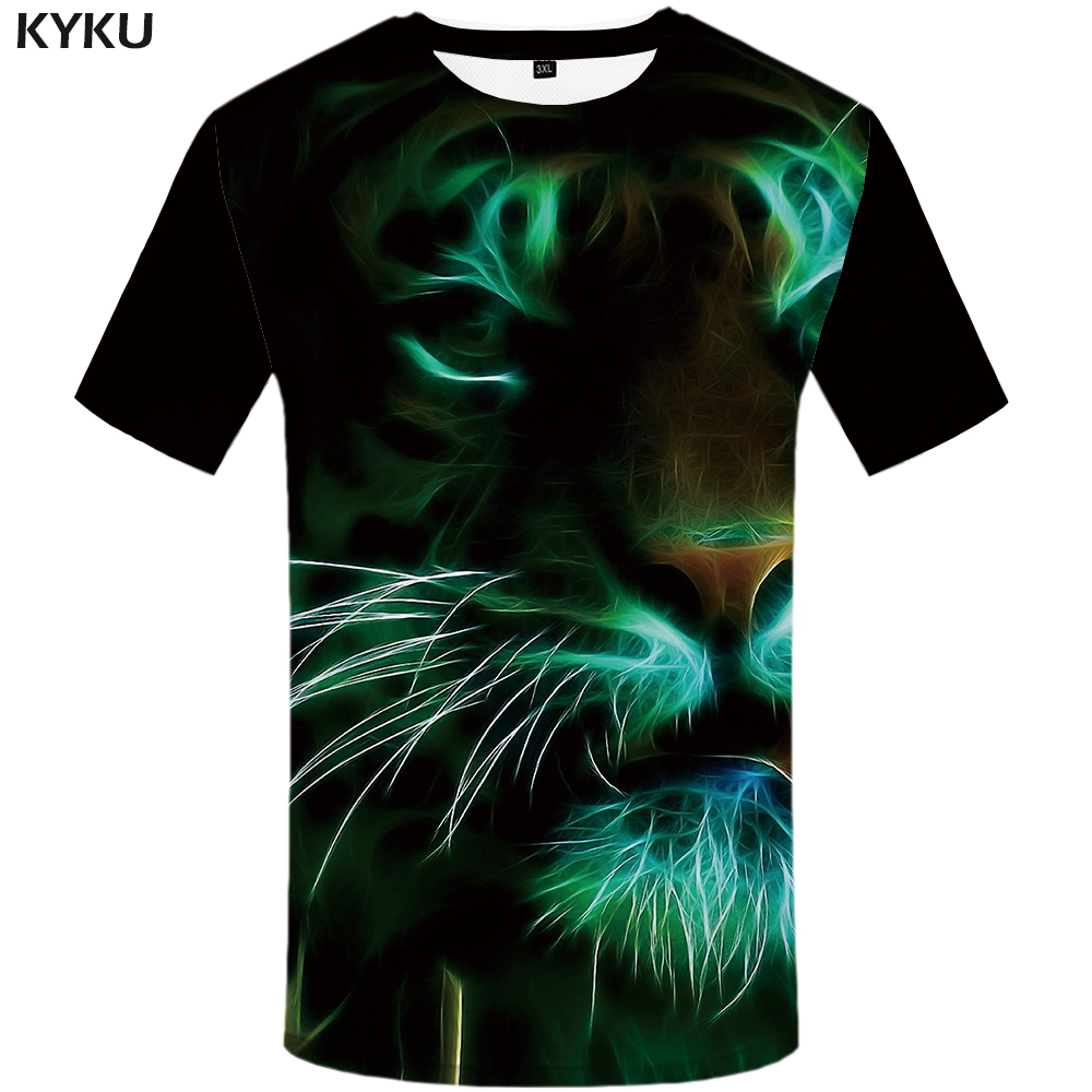 KYKU Tiger T shirt Women Fluorescence Tshirt Animal Tops Plus Size Shirts Clothes Womens Cool Casual Top Tee Woman