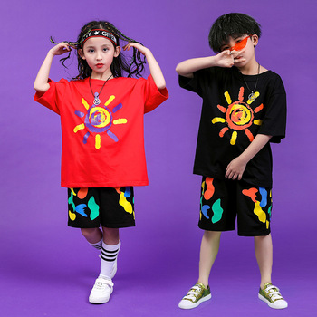Children Hip Hop Clothing Oversized T Shirt Tops Casual Shorts for Girls Boys Jazz Dance Costumes Ballroom Dancing Clothes Wear 1