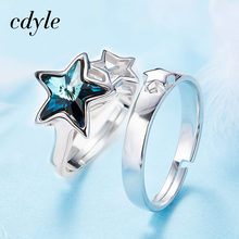 2b05f47f2a79 Cdyle cristales de Swarovski amantes anillos de la joyería de la plata  esterlina 925 de la manera de compromiso 2018 estrella mu.