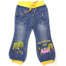 Children Jeans teen Girls Pants trees cat flowers embroider crystal button Denim Baby trousers infant outwear new MH2624