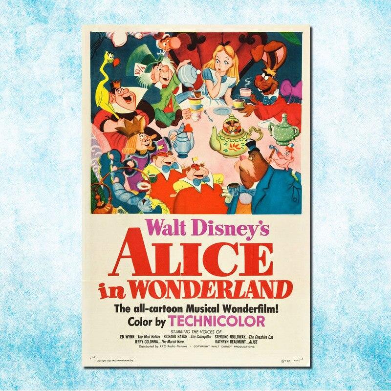 Алиса в стране чудес фильм Искусство Шелковый Холст печати плакатов 13x20 24x36 Чеширский Кот настенные панно для гостиной Декор (More) -4