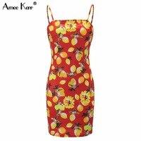 Amee Kerr Sweet Fruit Yellow Print Venetian Spandex Camis Womenn S Bandage Pencil Mini Dress Plus