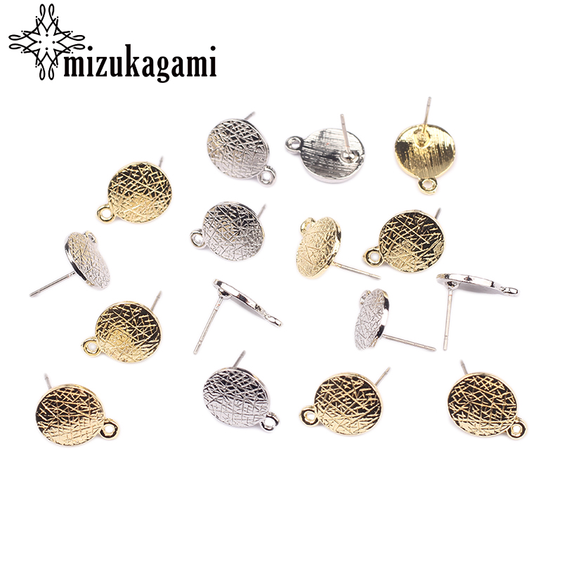 Zinc Alloy Golden Silvery Round Earrings Base Connectors Linkers 11*14mm 6pcs/lot For DIY Earrings Jewelry Making Accessories
