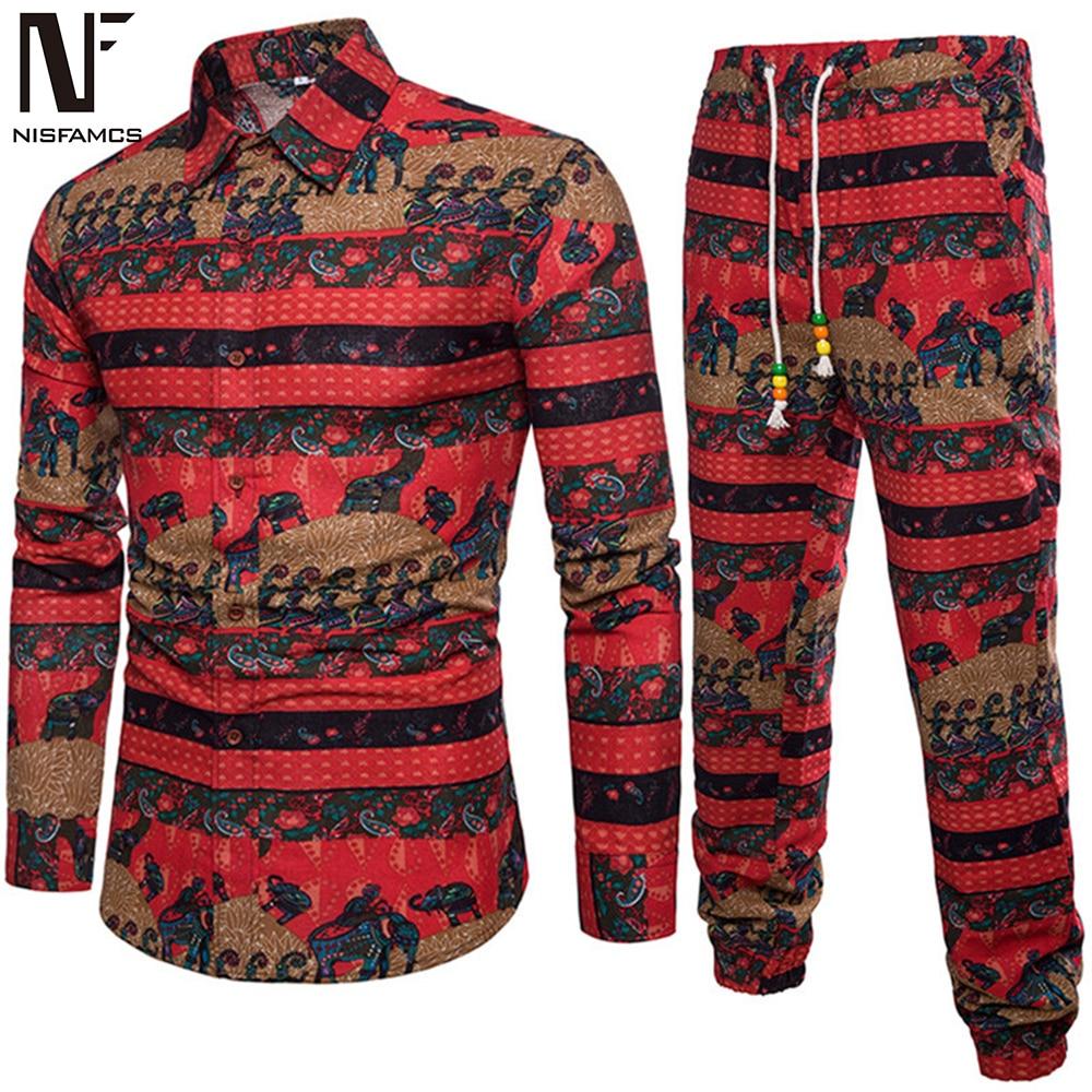 Men Tracksuits Vintage Print Man Clothing 2020 Autumn Wear Long Sleeve Gentleman Sweat Suit Male Travel Set Linen Long Pants 5XL