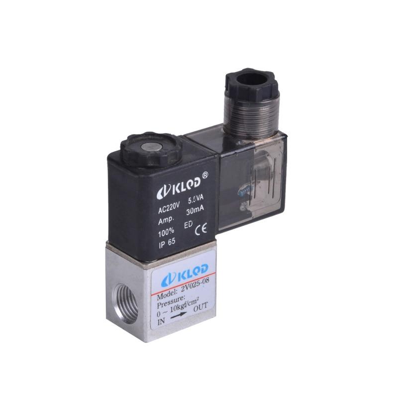 20pcs 2V025-06 1/8 2 Position 2 Port Air Solenoid Valves Pneumatic Control Valve , DC12v DC24v AC110v AC220v