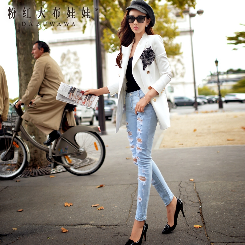 Female trousers jeans dabuwawa 2016 new spring fashion show thin hole jeans. dabuwawa 2016 slim fashion gray jeans women autumn