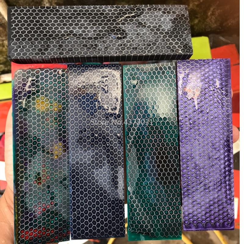 1piece C-Tek Knife Handle DIY Knife Making Handle Material Snake Skin Honeycomb Resin Plate Patch Material 120x40x8mm