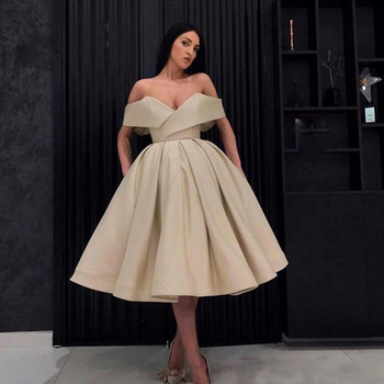 Cheap Cocktail Party Dresses Arabic Women Off The Shoulder Ball Gown Prom Dresses Tea Length Middle East Special Occasion Gowns