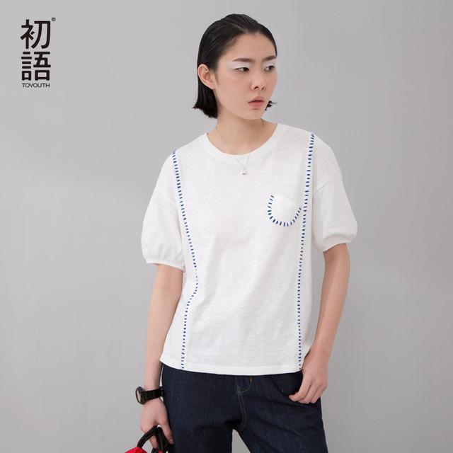 Toyouth 2017 Verano Nuevas Camisetas de Las Mujeres Algodón Bordado O-cuello de Manga Corta Camisetas Mujer Loose Casual Tops