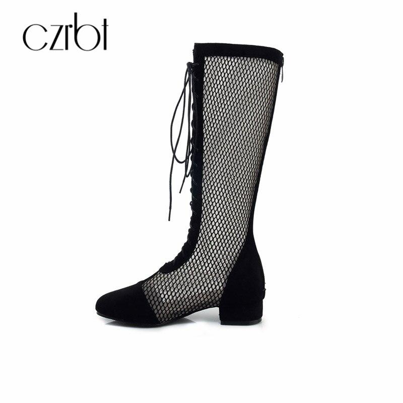 CZRBT Летняя мода Женская обувь в сдержанном стиле сапоги ручной работы сетки удобные дышащие на шнуровке женские сандалии; женская обувь плю... ...