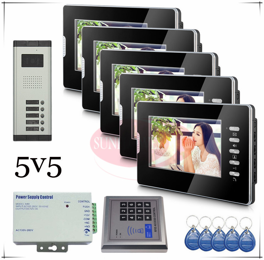 Brand new Wired 7 Video Door Phone Intercom Doorbell System 5 Monitor 5 buttons outdoor unit for 5 apartments Drop shipping