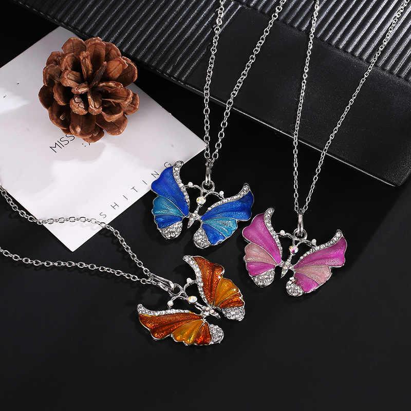 Модное женское ожерелье из розового золота с натуральным камнем и бабочкой